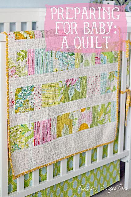 Happy Together has a link to this great tutorial for a baby quilt.  It was easy to follow and super fun.