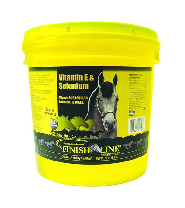 Finish Line® Vitamin E & Selenium: contains 20,000 IU's of Vitamin E per  lb. and 18 mg of Selenium per lb. in a powder formulation with a unique  apple ...