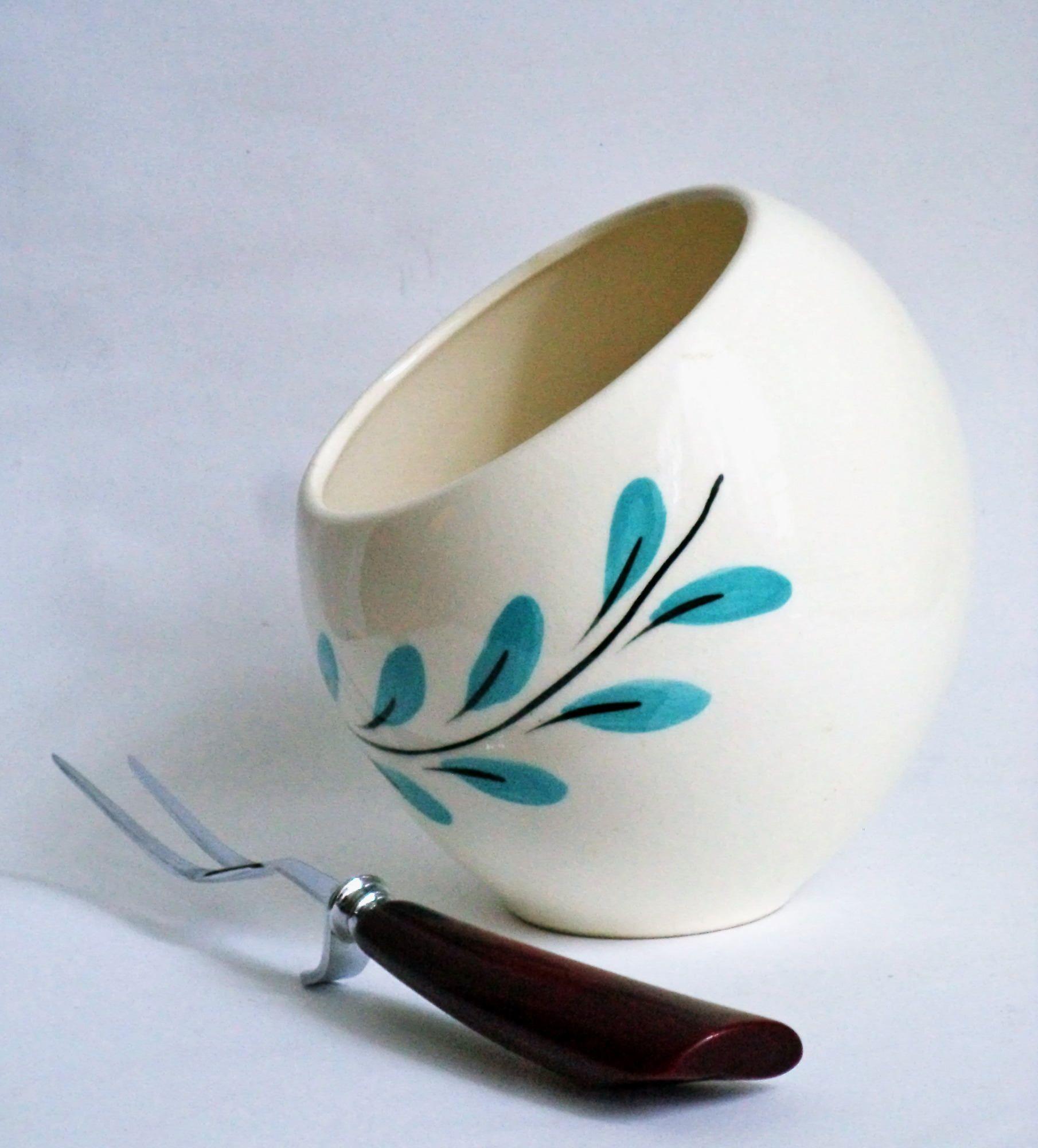 50s Egg Chair Retro Asymetric White Vase