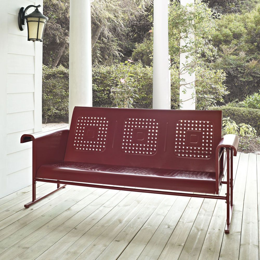 Sofa Glider in Coral Red #sofaglider #outdoorseatingset Outdoorset #PatioGarden #OutdoorFurniture #patiofurniture #ConversationSets #HomeDecor #InteriorDesigner #HomeDecorating #interiordesign #furniture #efurnituremart #HomeDecorator #decor #roomdecorating - eFurnitureMart, eFurniture Mart