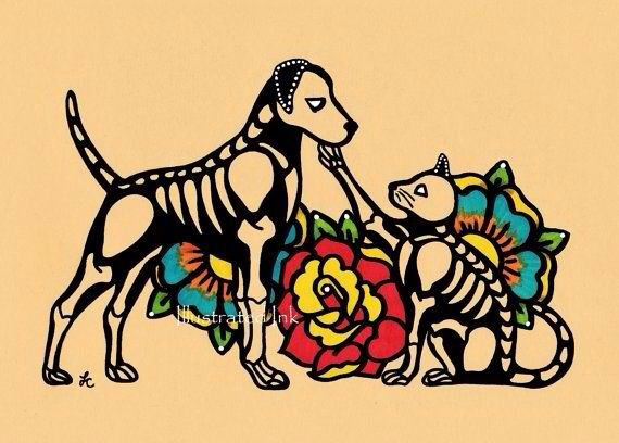 Cat And Dog Day Of The Dead Art Art Cat Tattoo