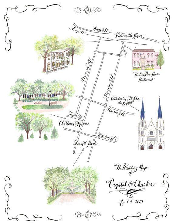 Watercolor Wedding Map Pdf Map Wedding Invitation Watercolor