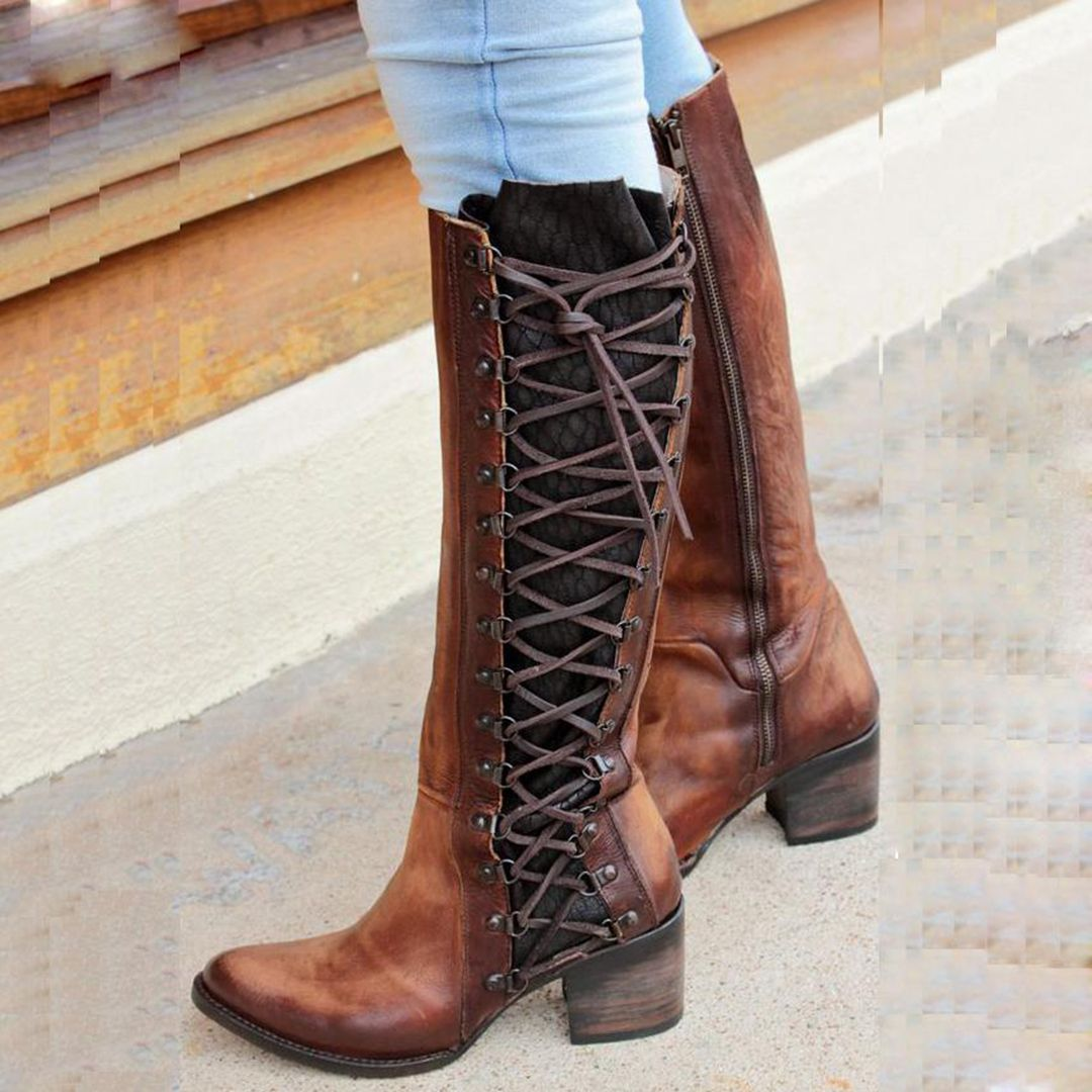 216157ff7bc Women Vintage Knee-High Zipper Chunky Heel Daily Boots | Hot Sale ...