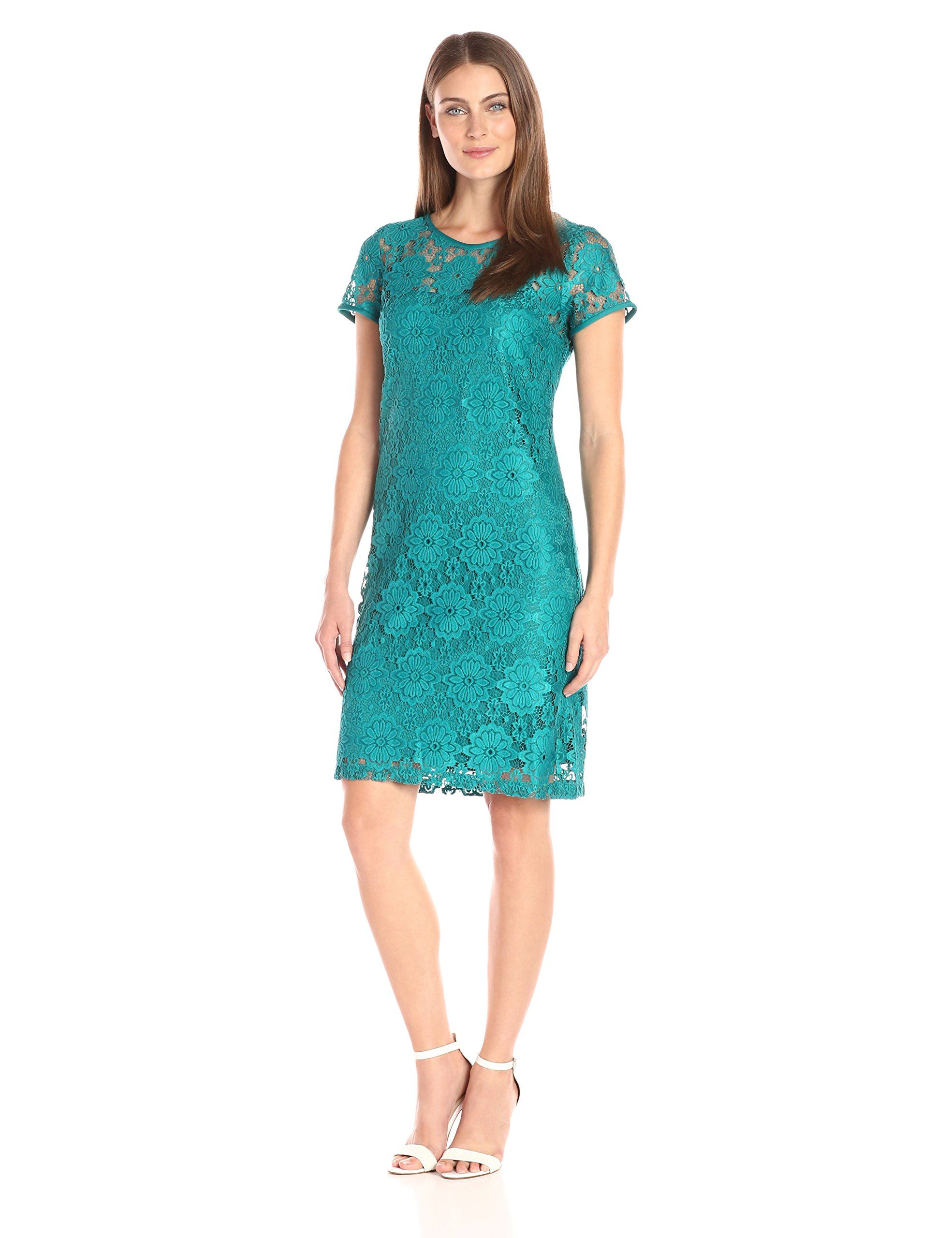 Nine West Women's Cap Slv Lace Dress W/ Nkline and Slv Edge Binding