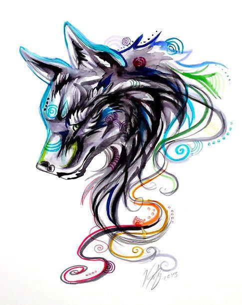 7598ab565e525 Cool Girly Wolf Tattoo Design   Missy   Tattoos, Wolf tattoo design ...