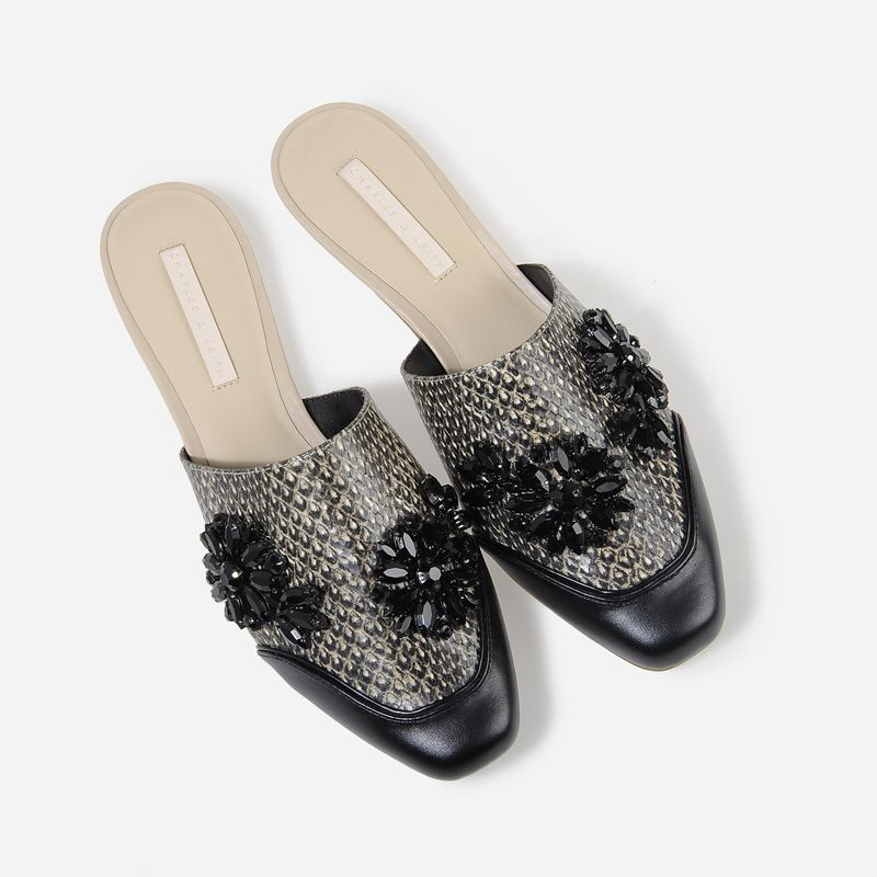 Embellished Mules - Brown - Flats - Shoes | CHARLES & KEITH