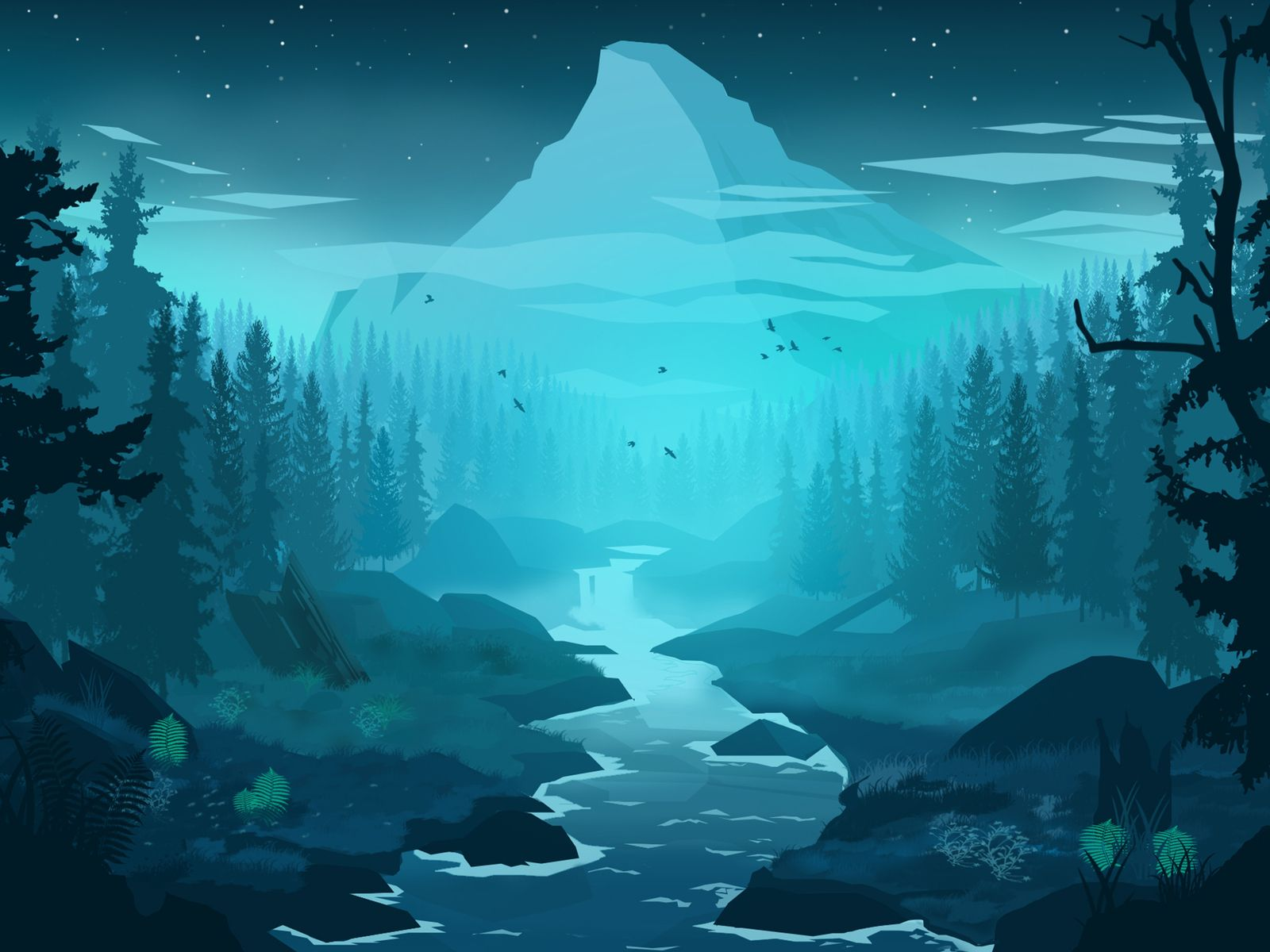 Blue Forest Landscape Wallpaper Forest Art Winter Forest