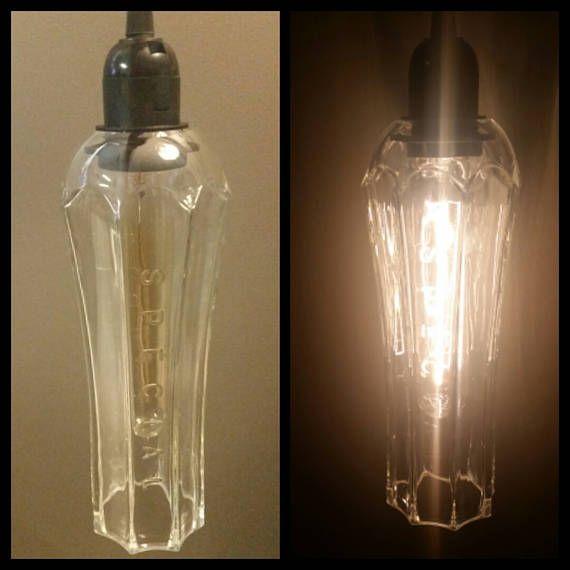 Reclaimed St Germain Bottle Pendant Light With Images Bottle