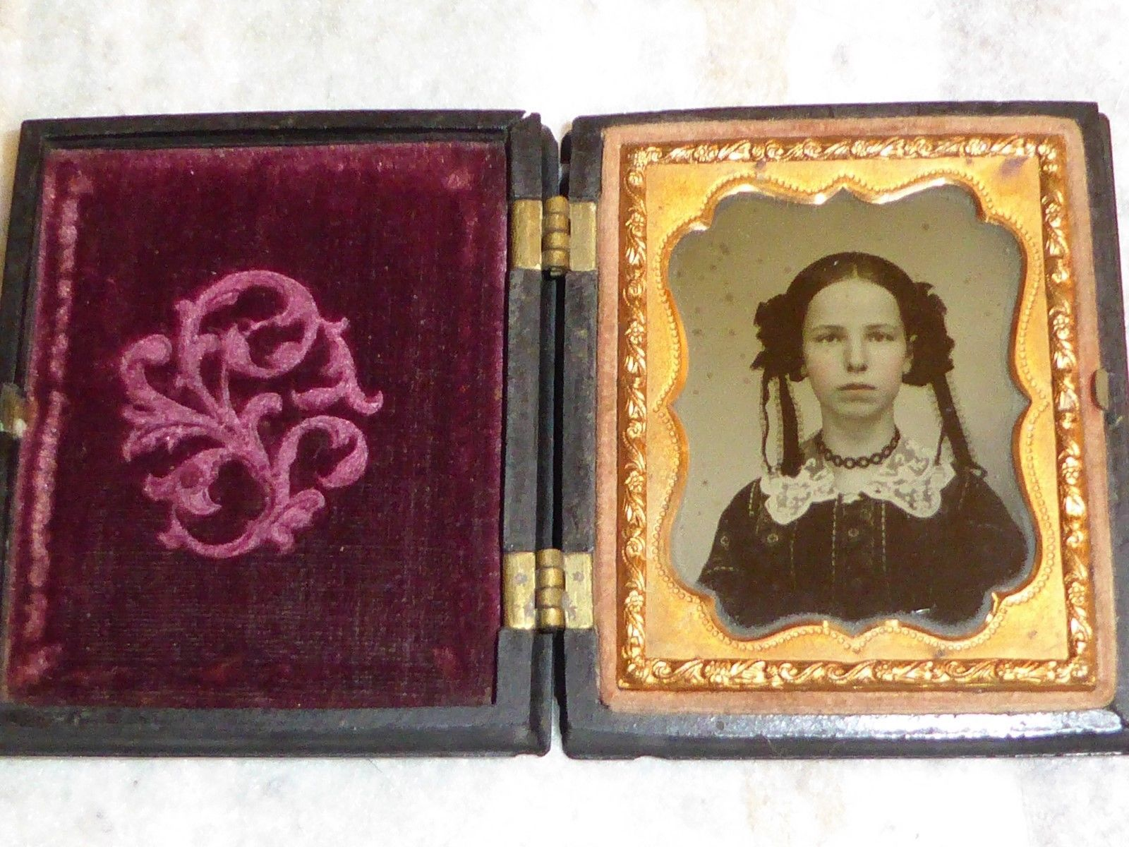 RARE 1850's 1 9 Plate Ambrotype of A Beauty with Lace Jewels Tresses | eBay