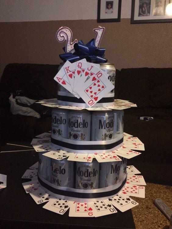 Tremendous Fun 21St Birthday Beer Cake Idea For A Guy Diy Pinterest Personalised Birthday Cards Bromeletsinfo