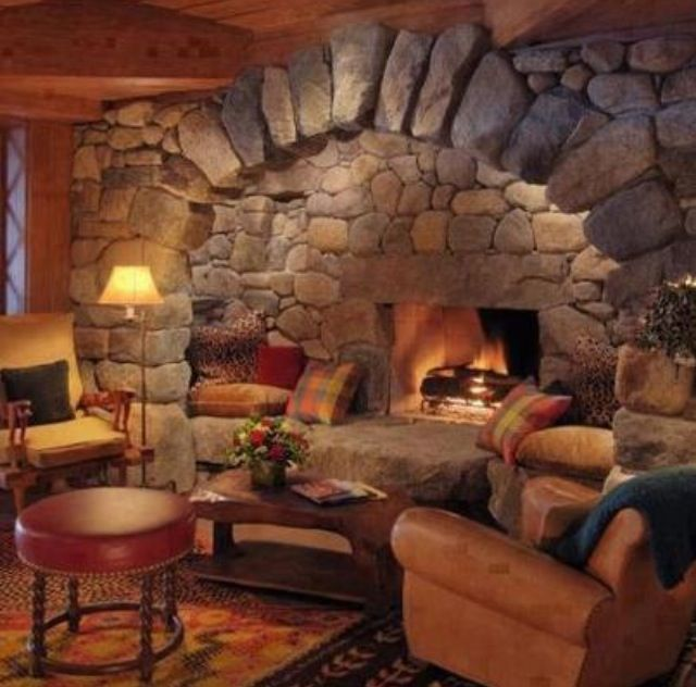 Great reading nook right by the fireplace!   Rustic stone ...