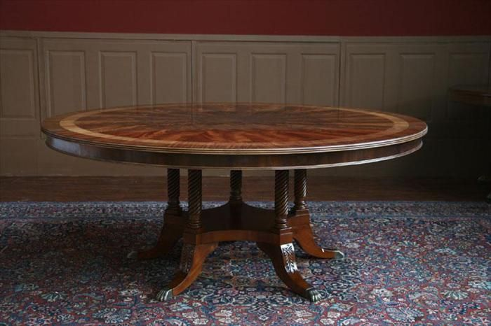 72 Inch Round Dining Room Table On 5 Leg Duncan Phyfe Pedestal