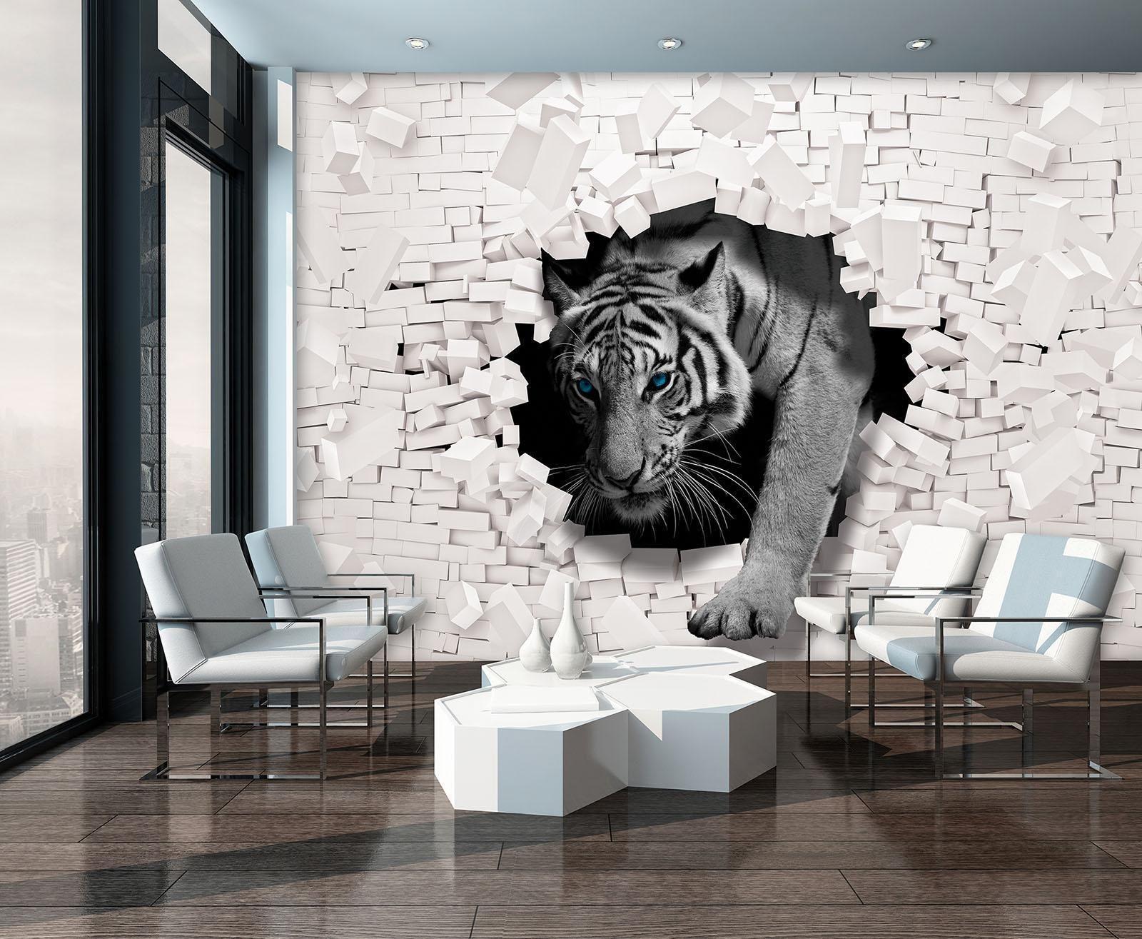 fototapete tapete wandbild vlies 1 10400 ve photo wallpaper mural 3d tiger kommt home decor. Black Bedroom Furniture Sets. Home Design Ideas