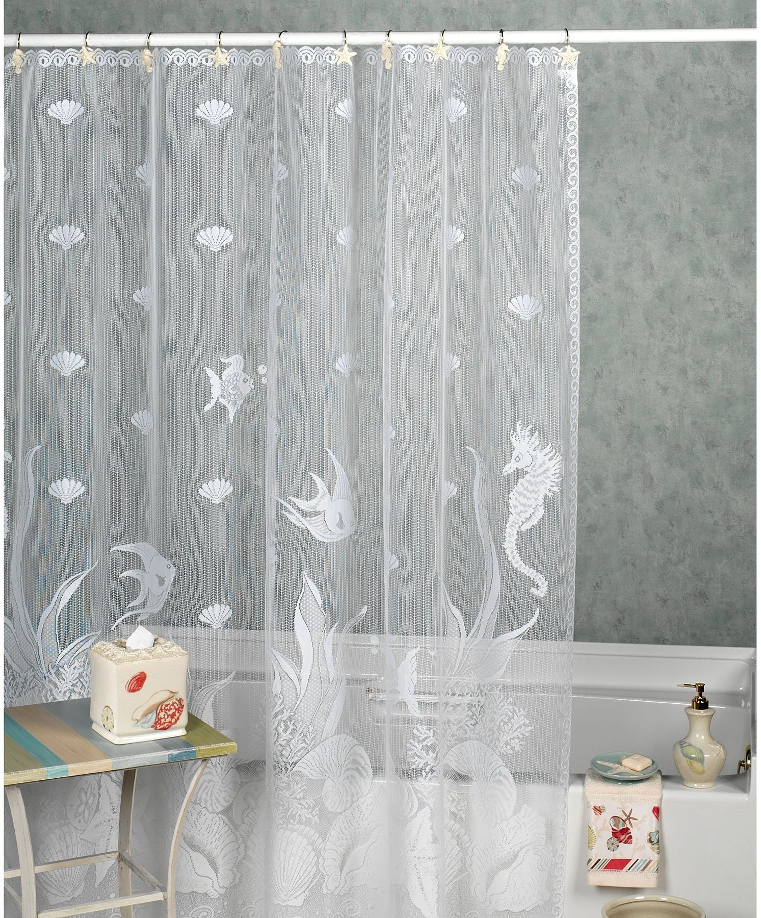 Exceptional Sheer Shower Curtain 2 White
