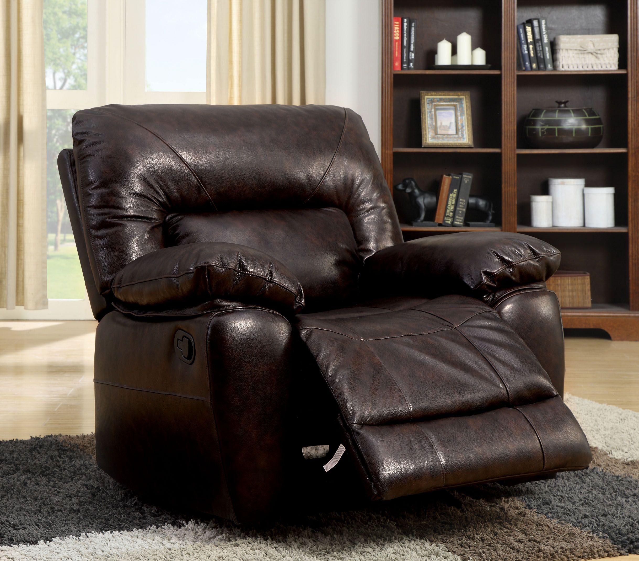 Furniture of america dark brown doran top grain leather