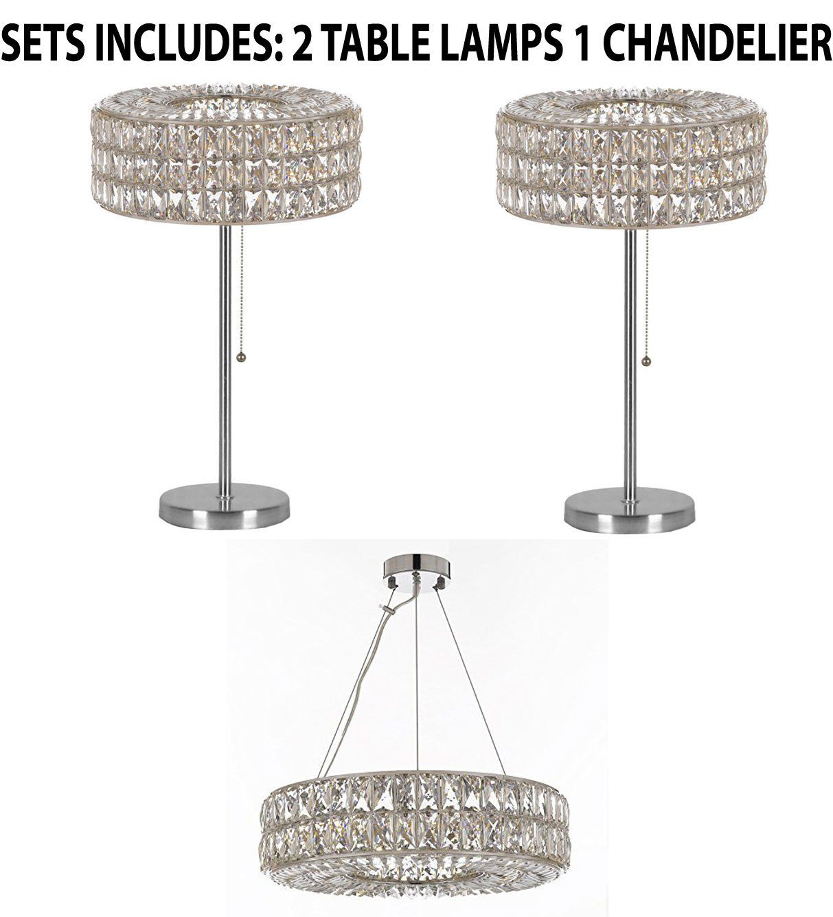 Set Of 3 2 Crystal Spiridon Ring Modern Contemporary Table Lamp Lighting H 28 W15 And 1 Cryst Contemporary Table Lamps Table Lamp Lighting Modern Chandelier