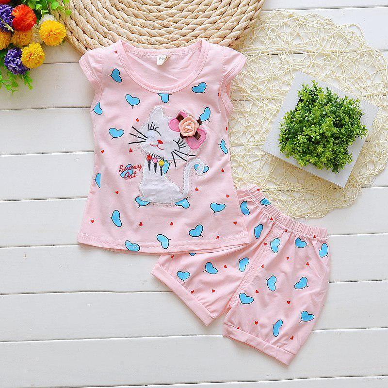 362dd564949 BibiCola summer baby girl clothing set infant clothes toddler cartoon 2pcs  cat love clothes sets infant