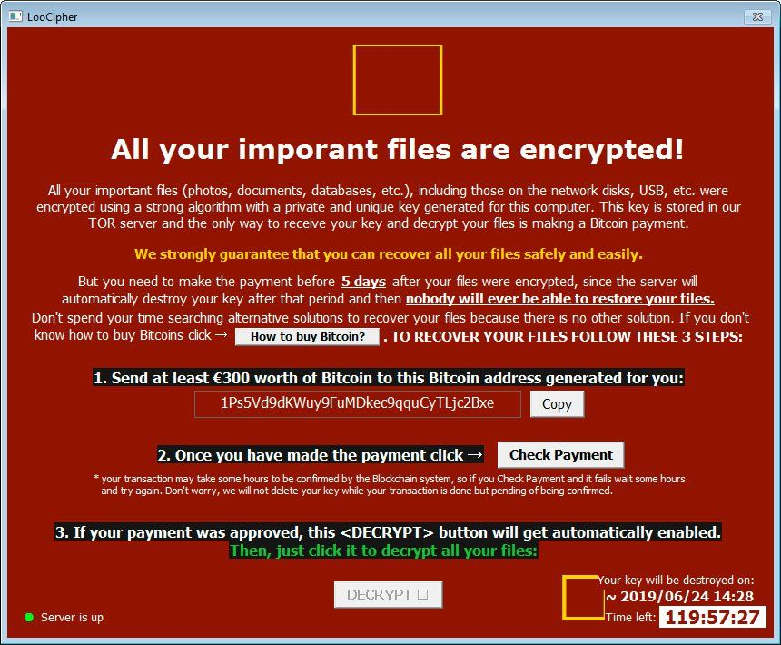 Emsisoft has released a LooCipher Ransomware decryptor