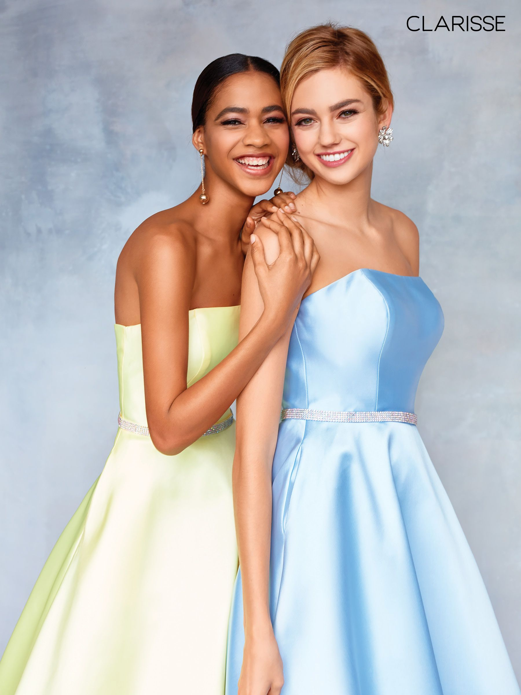 66c82a85d2 3739 - Lemon yellow and powder blue mikado strapless prom ball gown with a  detailed belt