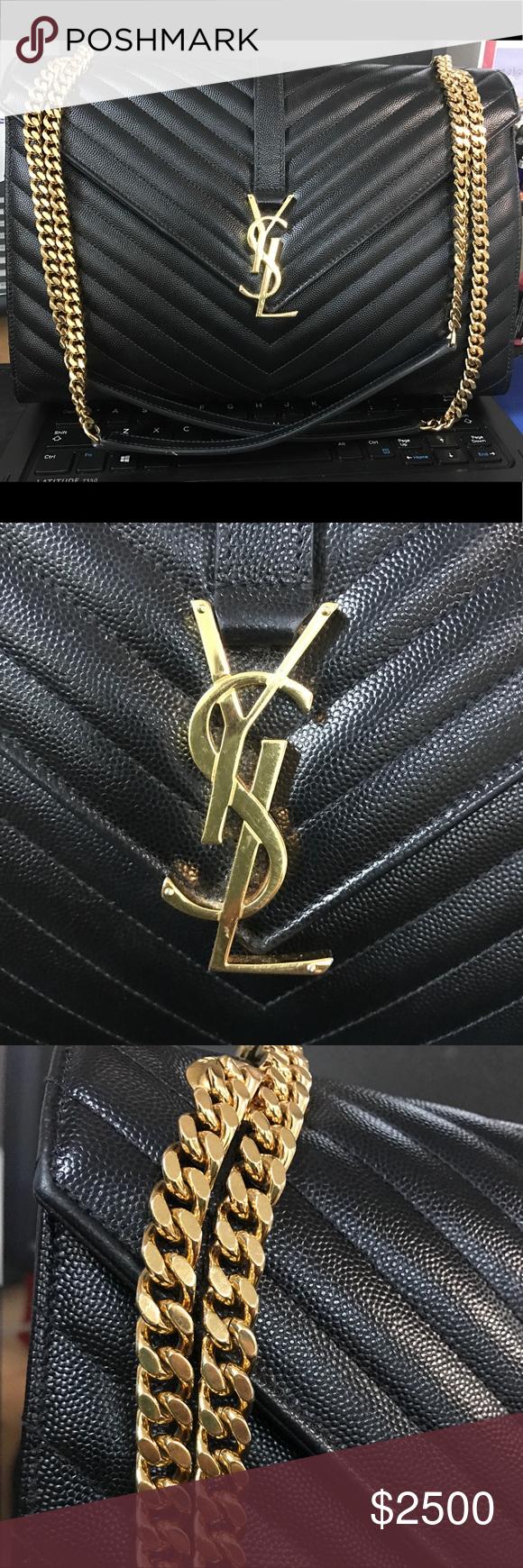 d9942bb420c1 Authentic YSL Large Envelope Bag Large Envelope Chain Bag in black Grain De  Poudre Textured Matelasse