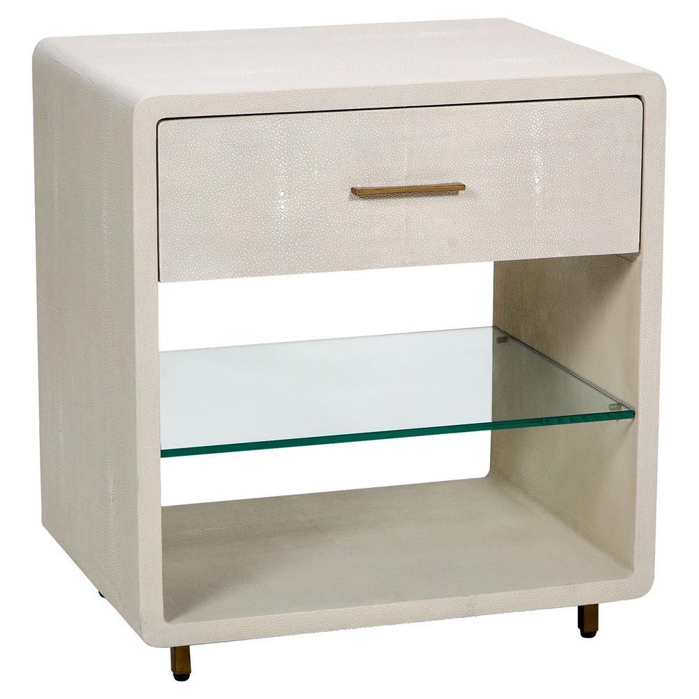 Lavonia Modern Ivory Shagreen Glass Shelf Nightstand | Kathy Kuo ...