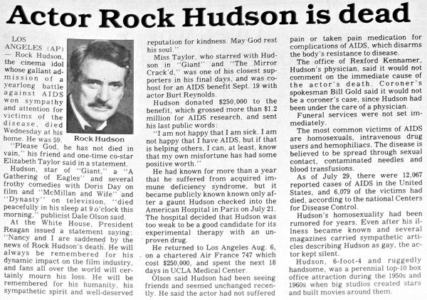 Image result for actor rock hudson dies