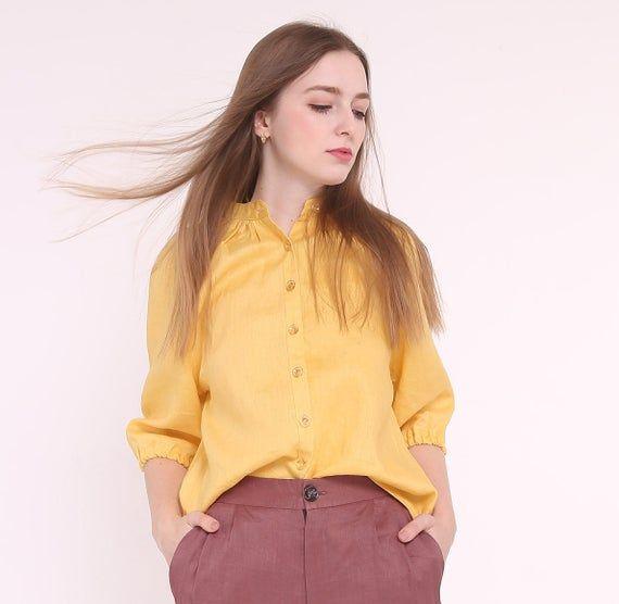 Casual yellow linen blouse, womens linen shirt, loose linen, linen tunic, linen top, womens linen to #linentunic