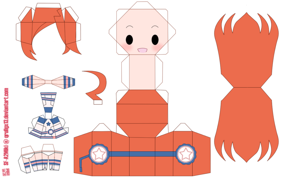 Papercraft for Vocaloid's SFA2 Miki. Based on the