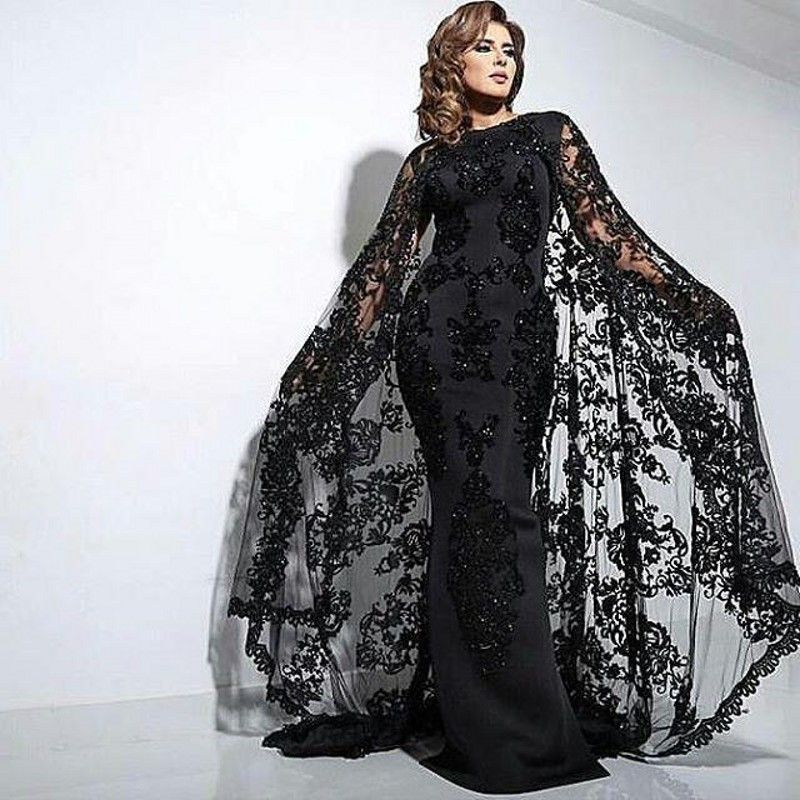 8f780295b576 Dubai Evening Dresses With Cape Satin Abaya Kaftan Formal Party Gowns Beads  Appliques Lace Evening Dress Elegant Long Vestidos