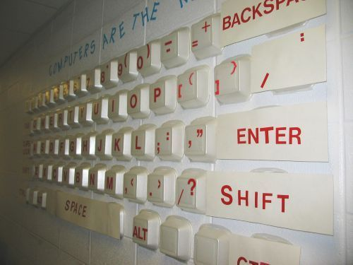 Great display for Computer Resource classroom! Uses takeout containers as computer keys.
