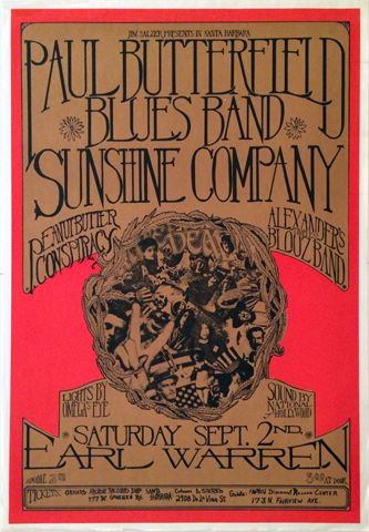 The Paul Butterfield Blues Band Vintage Concert Poster from