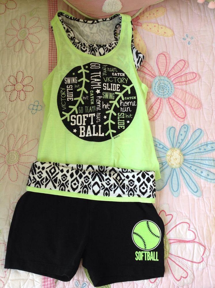 3e3d3fe53796 JUSTICE Girls Black Neon Green Graphic Sports Active Set Tank Shorts Size 6   Justice  Everyday