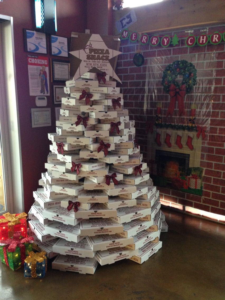 yellowcabnycheers pizza box christmas tree - Christmas Tree Box