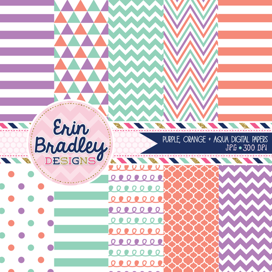 Erin Bradley Designs: New! Purple, Orange & Aqua Digital Papers