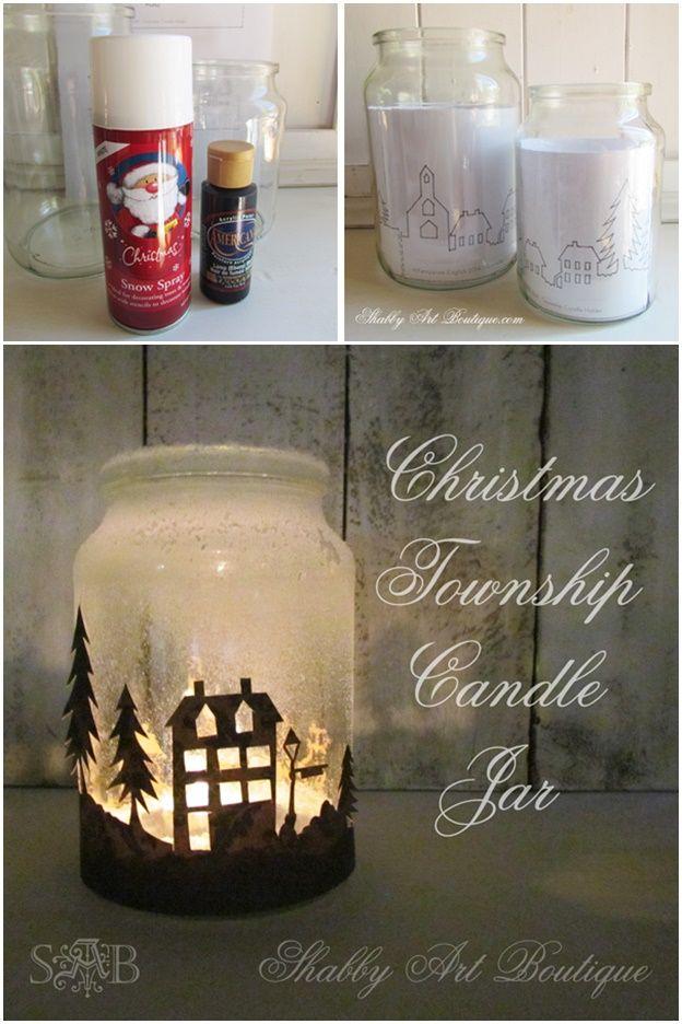 Diy Christmas Township Candle Jar Christmas Jars Christmas Mason Jars Diy Christmas Decorations Easy