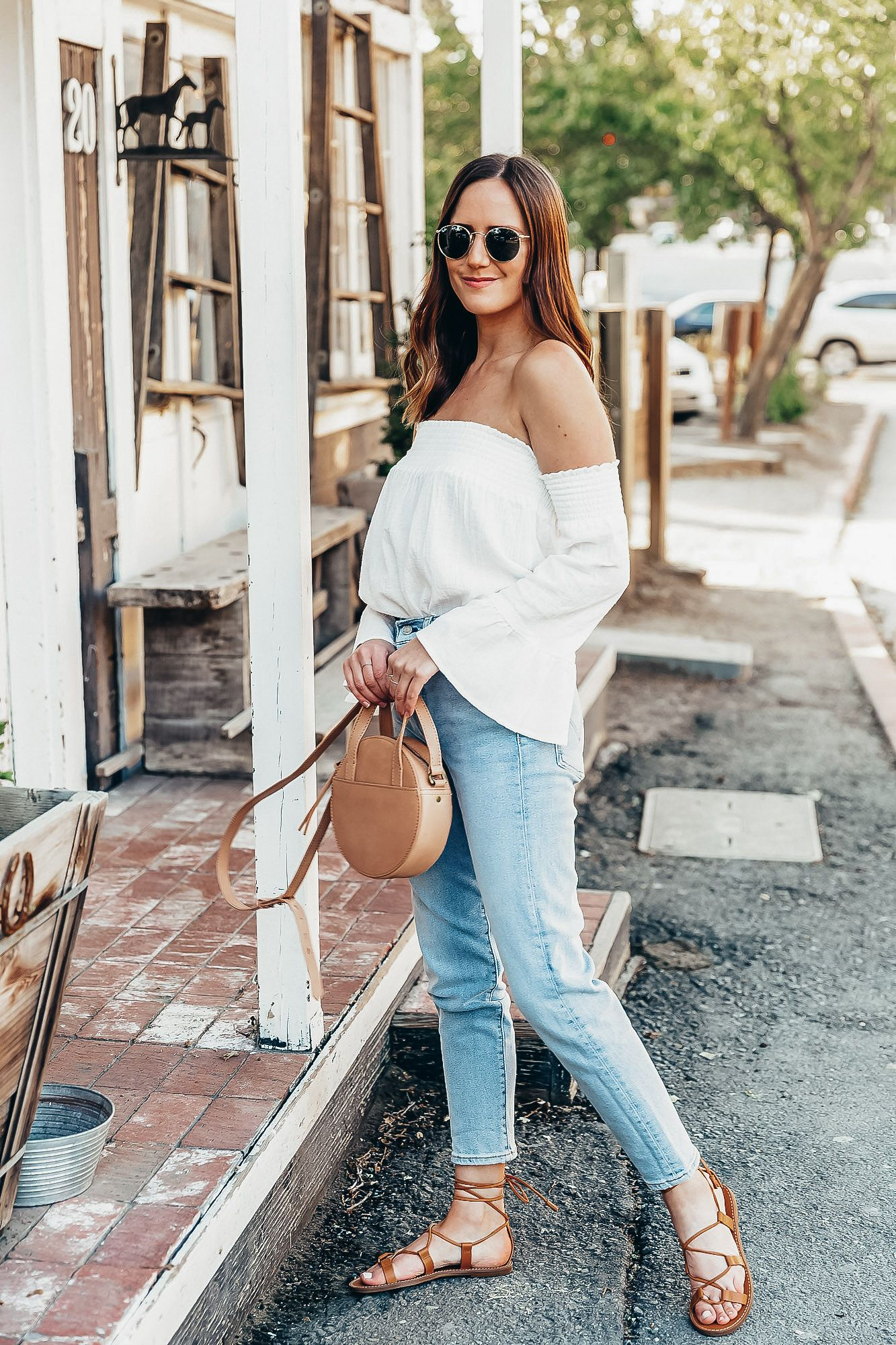 Summer Denim White Cotton Top And Lace Up Sandals White Off The