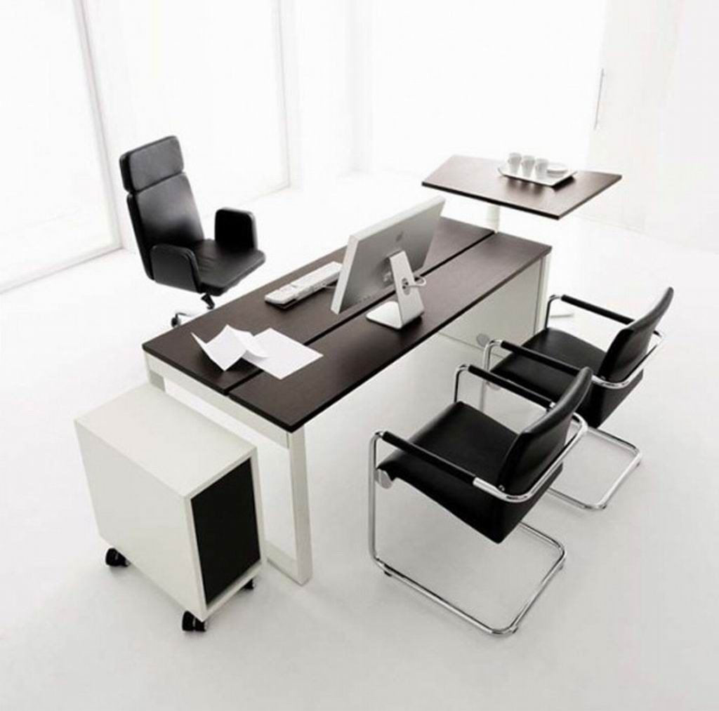 Beau Office Workspace. Modern Office Chair With Fashionable Arms Combined With  Rectangle Black Sleek Desk Set