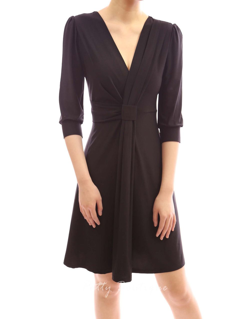 Puff 3/4 Sleeve V Neck Ruched Knot Pleated Sheath - PattyBoutik