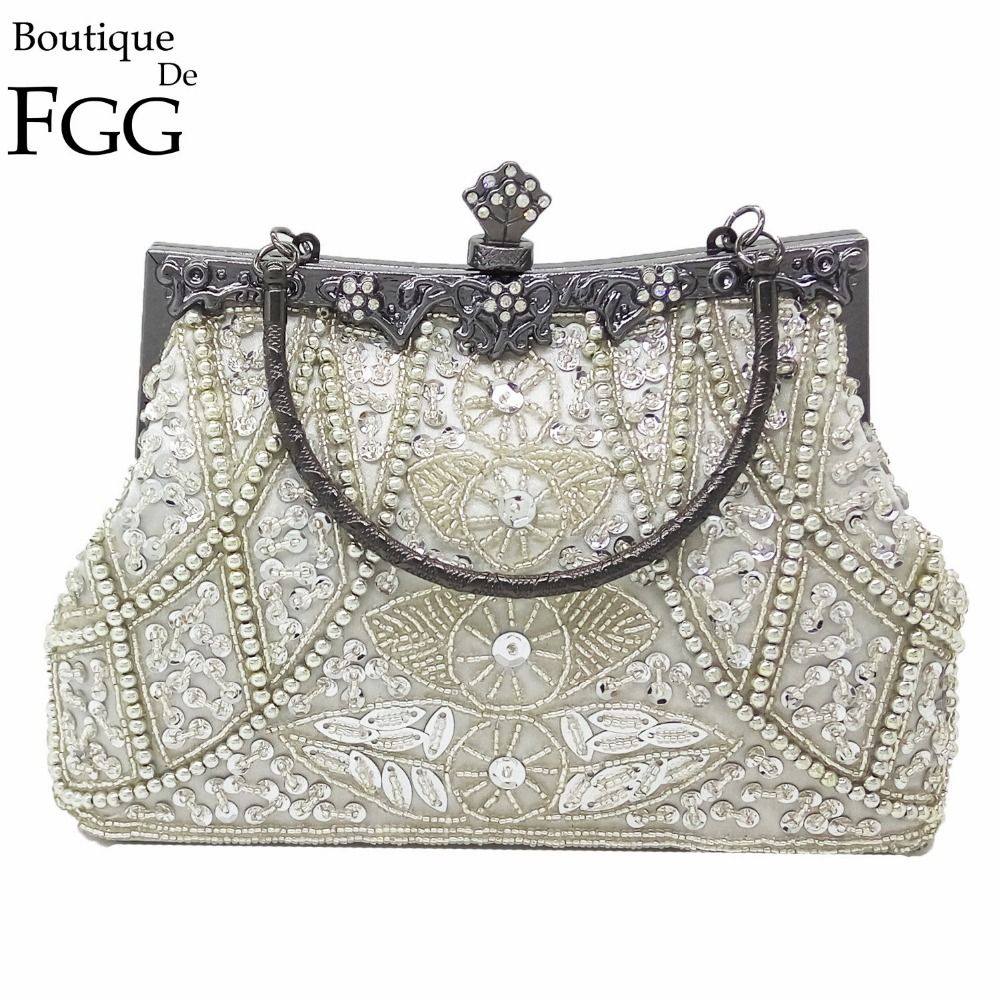 Clutch Bag Quality Style Directly From China Party Handbags Suppliers Boutique De Fgg Vintage Gunmetal Chinese Women Silver Beaded