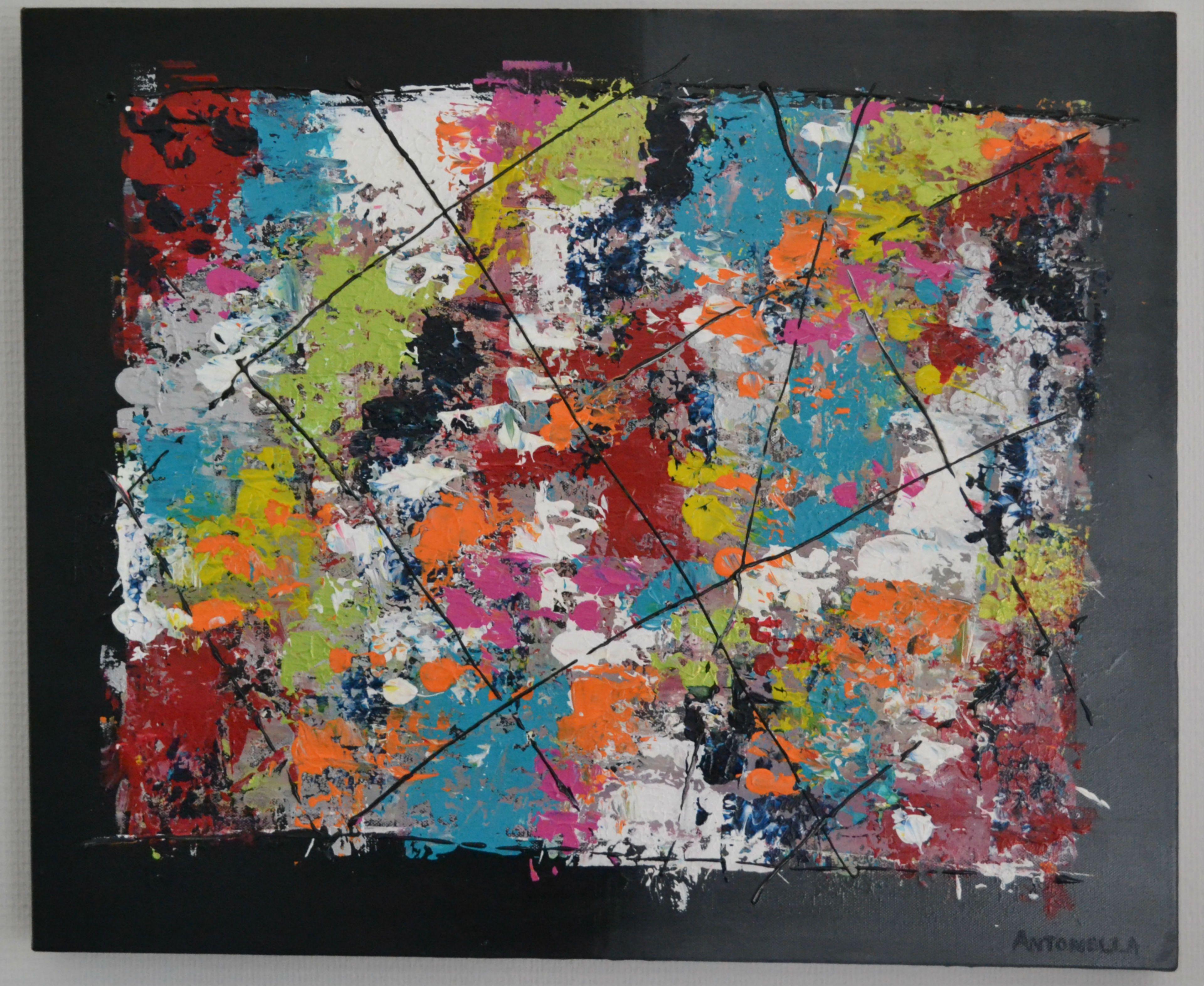 Tableau Abstrait Colore Realise A La Peinture Acrylique Tableau
