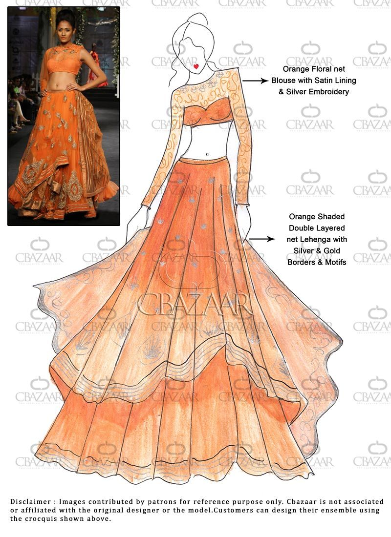 Diy Orange Net Layered Lehengacholi Fashion Illustration Dresses Dress Design Sketches Fashion