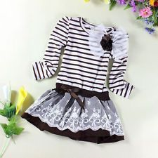 Girls Flower Striped Lace Party Birthday Kids Clothing Princess Dresses Size 6