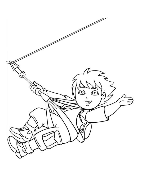 Diego Ziplining In Go Diego Go Coloring Page Netart Coloring Pages Go Diego Go Ziplining
