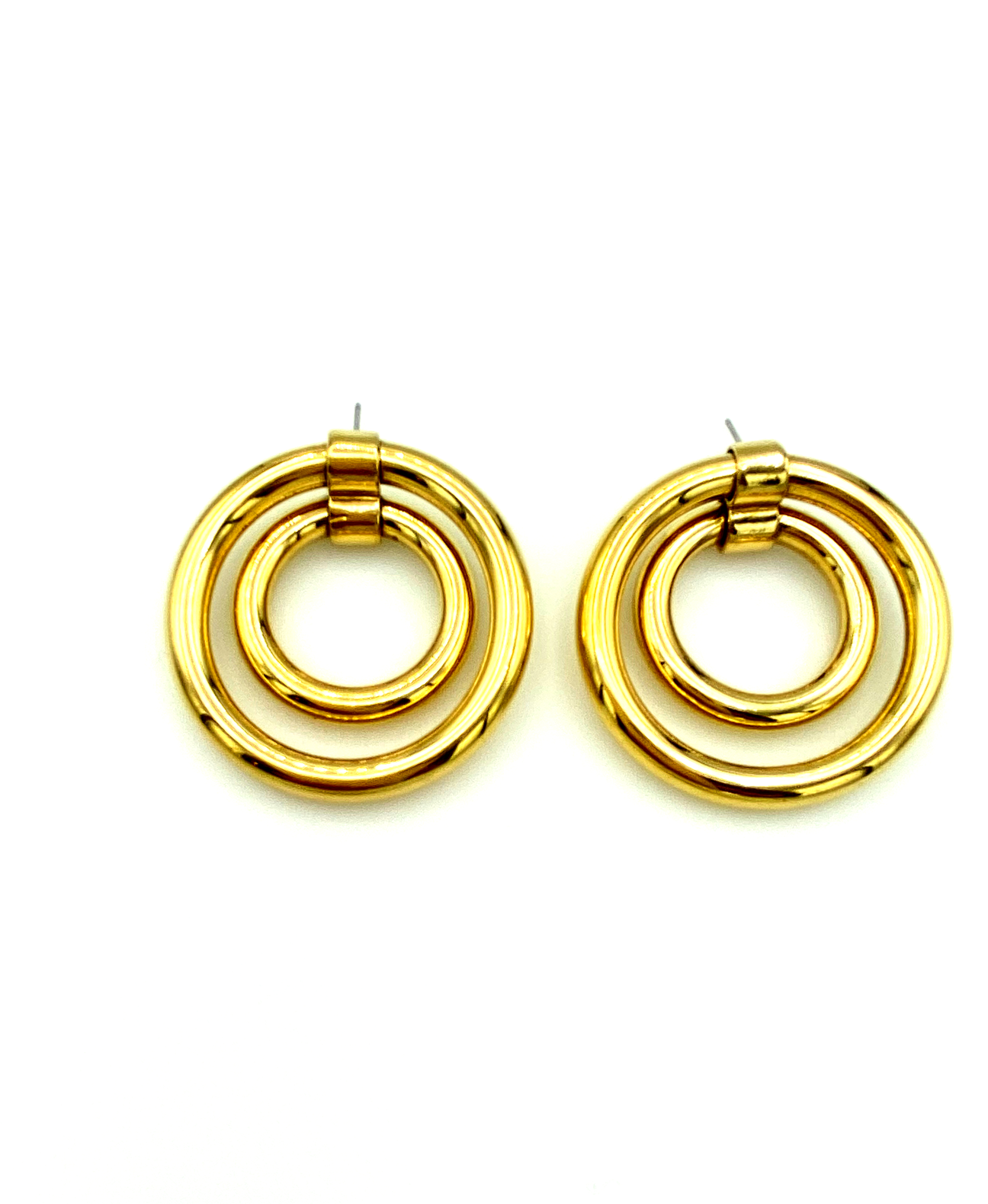 Gold Double Circle Hoop Vintage Pierced Earrings