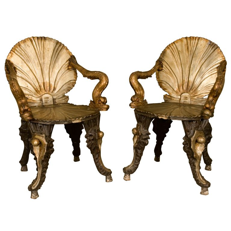 Charmant 19th Century Venetian Grotto Arm Chairs