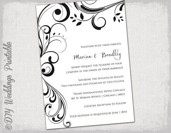 Wedding Invitation Templates Black And White Scroll