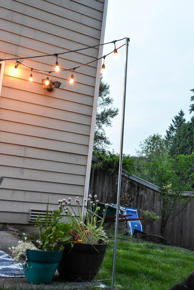 Hanging Outdoor String Lights Pole