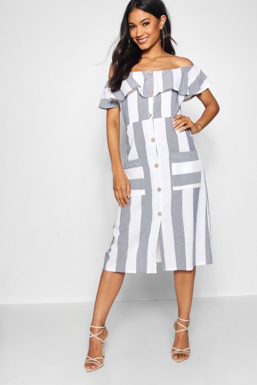 Off The Shoulder Wide Stripe Midi Dress Aff Aff Aff Wide Dress Midi Shoulder Striped Midi Dress Women Cheap Dresses Blue Midi Dress [ 1500 x 1000 Pixel ]