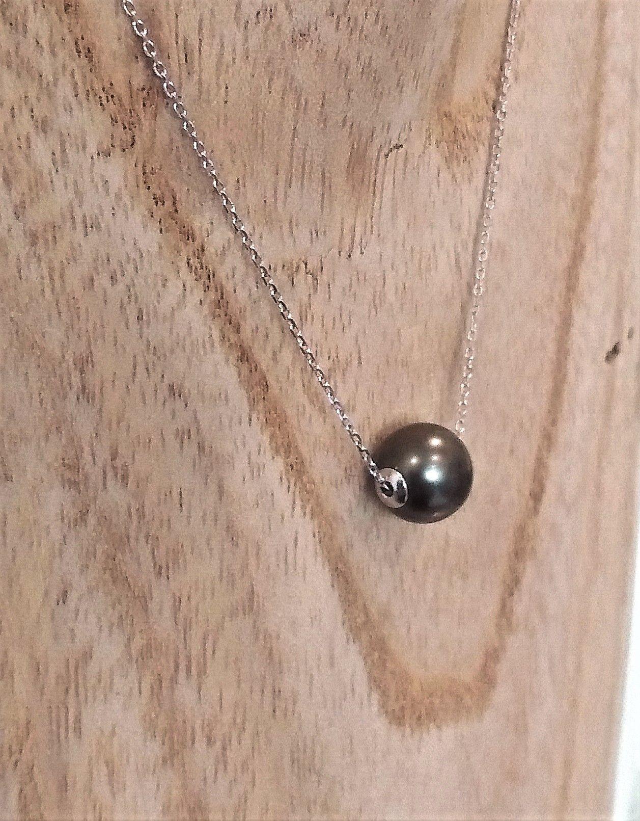collier homme ras de cou avec perle de tahiti