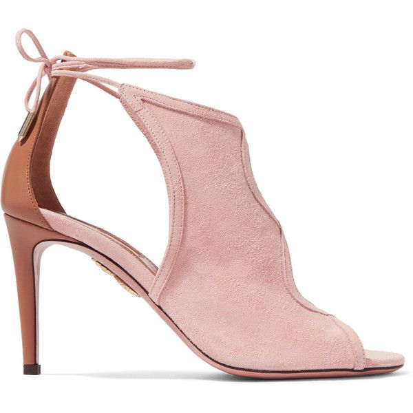 Aquazzura Nomad cutout suede and leather sandals (€260) ❤ liked on Polyvore featuring shoes, sandals, heels, women's shoes, baby pink, cutout sandals, heeled sandals, leather sandals, leather high heel sandals and high heels sandals